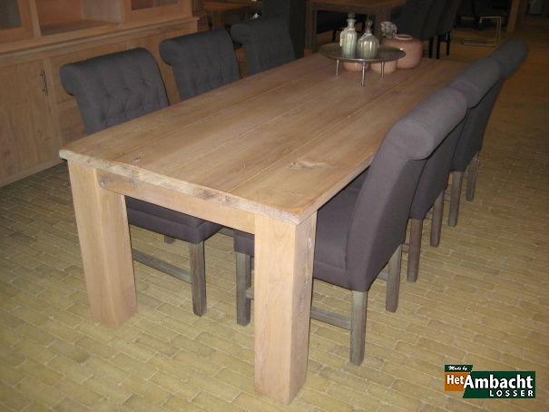 Massief eettafel eiken rustiek